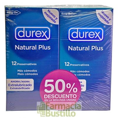 Durex DUPLO Preservativos Natural Plus 12+12 Ud 50% DESC en la 2º Ud