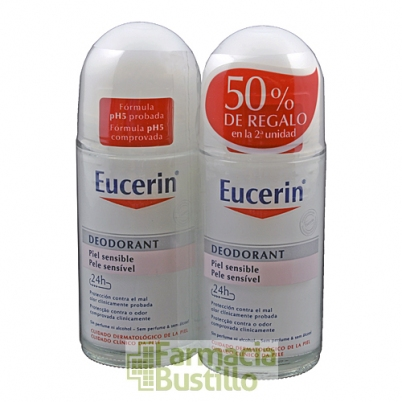 EUCERIN  DUPLO Desodorante Roll-On Piel sensible 50ml + 50ml