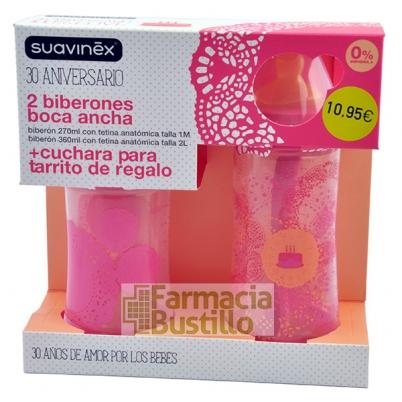 SUAVINEX Pack Biberón Tet Anatomica Talla 2L 360cc + Bibe Tet Anat 1M 270ml +  Cuchara REGALO