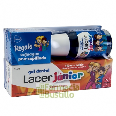 LACER Junior Gel Dent Sabor Fresa 75ml + REGALO Enjuague Precepillado 100ml