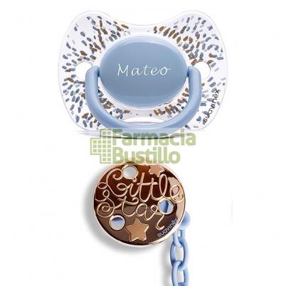 SUAVINEX Chupete Icons Premium PERSONALIZADO Haute Couture + Broche Pinza Haute 0-4m