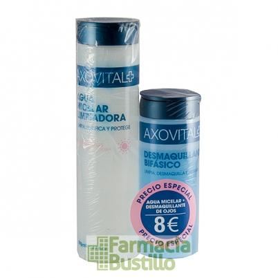 AXOVITAL Agua Micelar Limpiadora 200ml + Desmaquillante Bifásico de Ojos 125ml