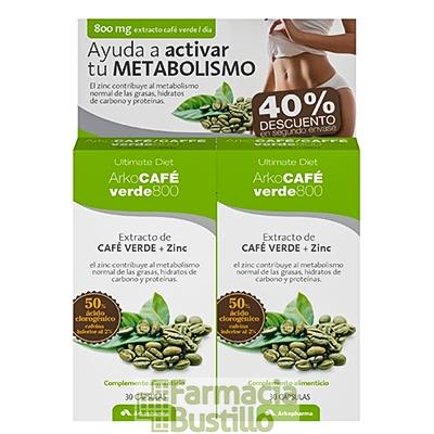 Pack Arko Café Verde 800 DUPLO 30 cápsulas Extracto de café verde y zinc.