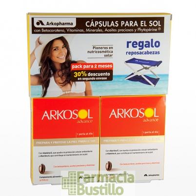 ARKOSOL Advance perlas para el sol DUPLO 30 + 30 30% Descuento 2ª Unid + REGALO Reposacabezas