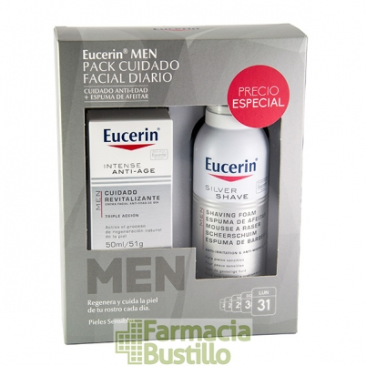 EUCERIN Men PACK Crema Antiedad de día 50ml + Espuma de Afeitar 150ml Piel Sensible