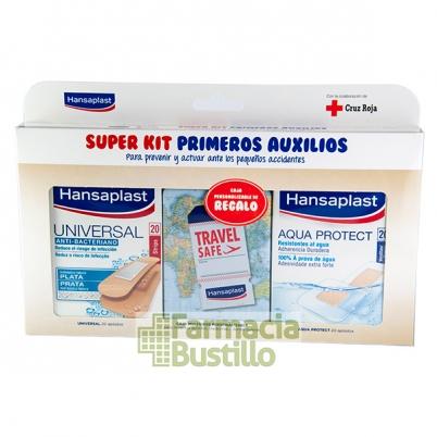 KIT PRIMEROS AUXILIOS Apósito HANSAPLAST Antibacteriano 20 Unid+ Aqua Protect 20 Unid + CAJA REGALO