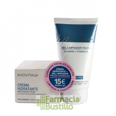 AXOVITAL Pack Hidratante con Acido Hyalurónico 50ml + Gel Limpiador Facial 150ml