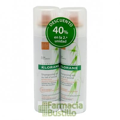 Klorane Champú seco DUPLO Color Natural extra-suave a la leche de Avena 150ml +150ml 50% Dto 2ª Unid