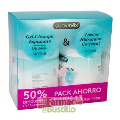 SUAVINEX Pack Loción Hidratante 400ml + Gel Champú Espumoso 400ml 50%Dto