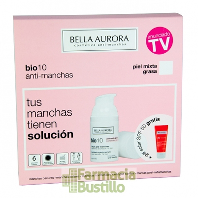 Pack Bella Aurora Bio10 Serum anti-manchas pieles mixta y grasa 30ml + REGALO Fluido Solar 50+