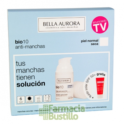 Pack Bella Aurora Bio10 Serum anti-manchas pieles normal y seca 30ml + REGALO Fluido Solar 50+