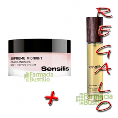 Sensilis SUPREME MIDNIGHT Crema regeneradora con caviar + Supreme Aceite DETOX REGALO