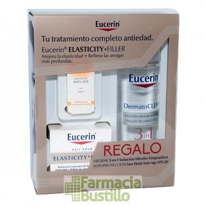 EUCERIN ELASTICITY+FILLER Crema de Día FP15 50ml + REGALO Agua Miscelar 200ml + Minitalla Sunfluid 50