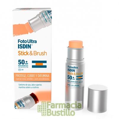 FotoUltra ISDIN Stick & Brush con color SPF 50+ fotoprotección específica para zonas sensibles