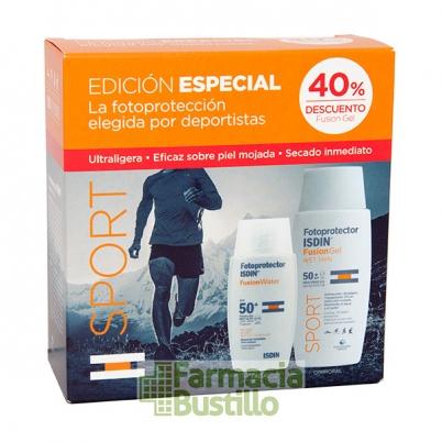 ISDIN PACK Fotoprotector Sport SPF 50+ Fusión Gel 100ml  + Fotoprot Fusion Water 50ml
