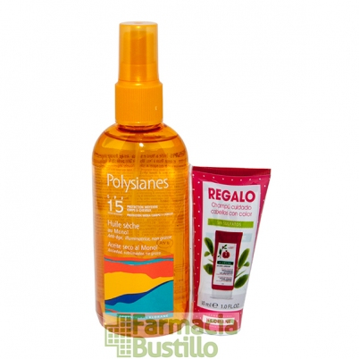 POLYSIANES Aceite Seco al Monoi SPF 15 Spray 125ml + REGALO Champú Granada 30ml