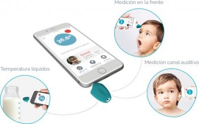 Oblumi Tapp Termómetro infrarrojo con conectividad con tu smartphone.