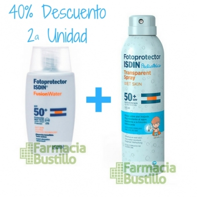 Pack Isdin Fotoprotector Fusion Water 50ml + Spray Wet Slik Pediatrico 250ml 40% la Segunda Unidad