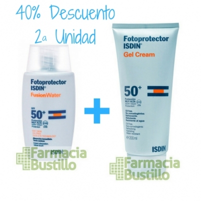 Pack Isdin Fotoprotector Gel Crema 200ml + Fusion Water 50ml 40% la Segunda Unidad