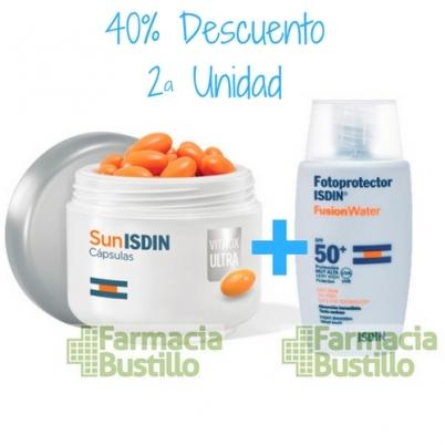 Pack Isdin Fotoprotector Fusion Water 50ml + SunIsdin VitAox Ultra 30 cápsulas 40% la Segunda Unidad