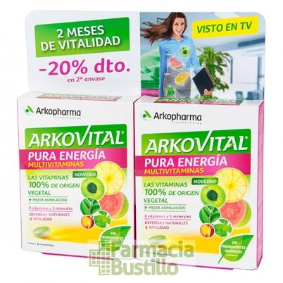 Arkovital PURA ENERGIA PACK 20% en 2ª Unidad Multivitaminico de origen natural 30+30