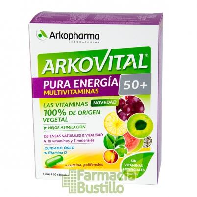 Arkovital PURA ENERGIA 50+ Multivitaminico de origen natural con Vitamina D y Luteina 60 COMP