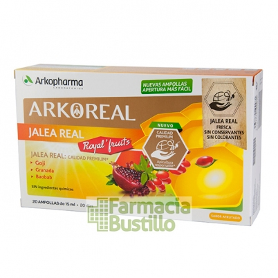 Arko Real Jalea Real Frutas con Goji, Granada y Baobab 20 ampollas Sabor afrutado
