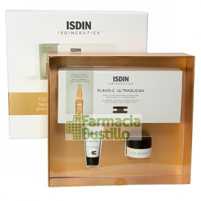 Pack Caja ISDINCEUTICS Flavo-C Ultraglicano 30 Ampollas + Minitalla K-Ox Contorno Ojos 3ml + Minitalla Age Reverse 7ml