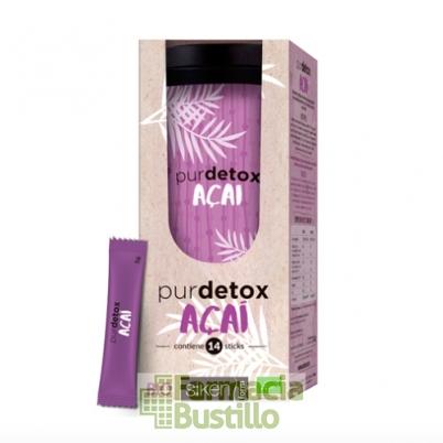 Purdetox Acai, Té Verde y Acerola con efectos Detox 14 Stick  Siken Form
