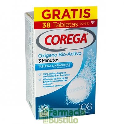 COREGA Oxigeno Bio Activo 3 minutos 70 + 38 GRATIS tabletas