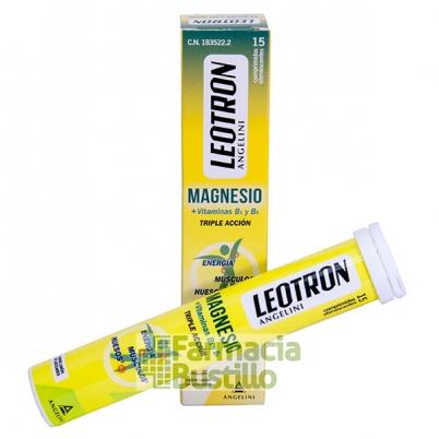 LEOTRON Magnesio + Vitaminas B1 y B6 Triple Acción sabor limón 15 Comp Eferv