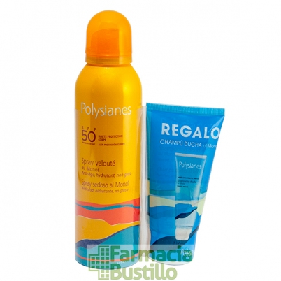 POLYSIANES Spray Sedoso al Monoi SPF 50 150ml + REGALO Champú Ducha 75ml