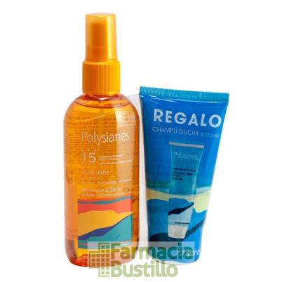 POLYSIANES Aceite Seco al Monoi SPF 15 Spray 125ml + REGALO Champú Ducha 75ml