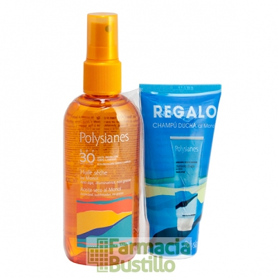 POLYSIANES Aceite Seco al Monoi SPF 30 Spray 125ml + REGALO Champú Ducha 75ml