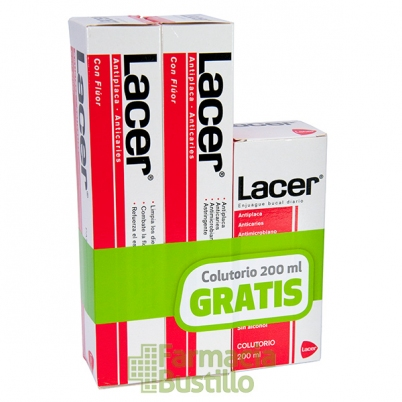 LACER Duplo Pasta de Dientes Anticaries  125ml + Lacer Colutorio 200ml REGALO