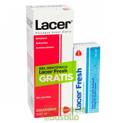 LACER Colutorio Anticaries 500ml + Lacer Fresh Gel 35ml REGALO