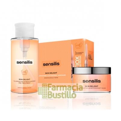 Sensilis Skin DELIGHT 15 ampollas + Mascarilla Iluminadora + REGALO Esencia Pretratamiento 300ml
