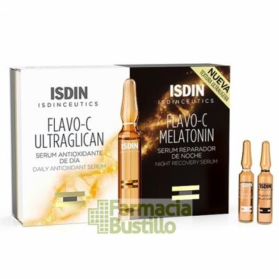 ISDINCEUTICS Flavo-C Ultraglicano y Flavo-C Melatonin Ampollas Serum Día y Noche NUEVA TEXTURA