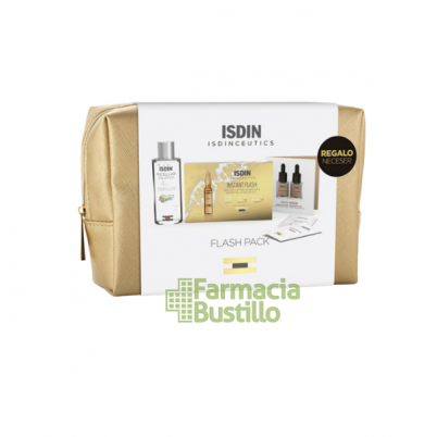 PACK Beauty ISDINCEUTICS NECESER Instant Flash 5 ampolla + Micelar 100ml + Muestras Skin Drops maquillaje