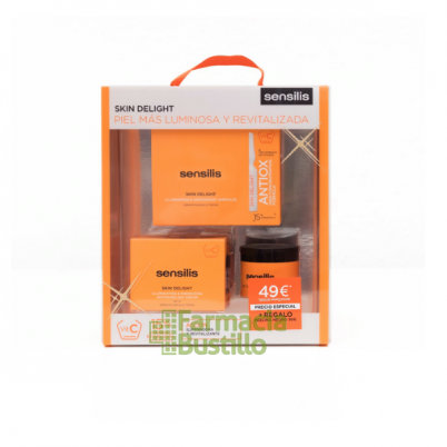 Sensilis Pack Iluminador SKIN DELIGHT dia Revitalizante 50ml + Ampollas Antioxidantes+ Peeling Negro 30ml