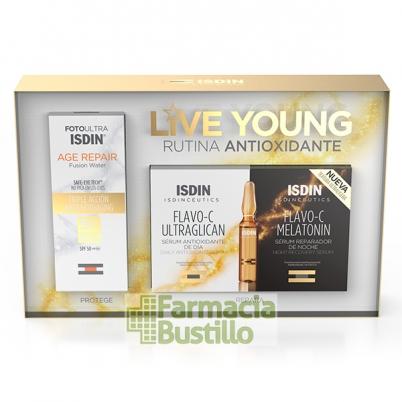isdinceutics, flavo-c, ultraglicano, día, ampollas-isdinceutics, flavo-c, live young, rutina antioxidante, pack