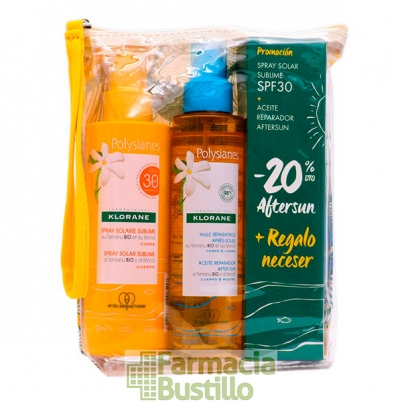 POLYSIANES NECESER  Spray solar al Monoi  SPF 30 200ml + Aceite Reparación Aftersun 200ml