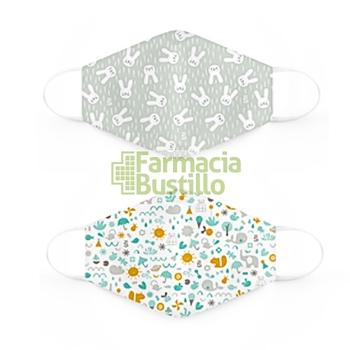 SUAVINEX Mascarillas Lavables 25 lavados 3 a 5 años 2 Unid Dibujos y verde